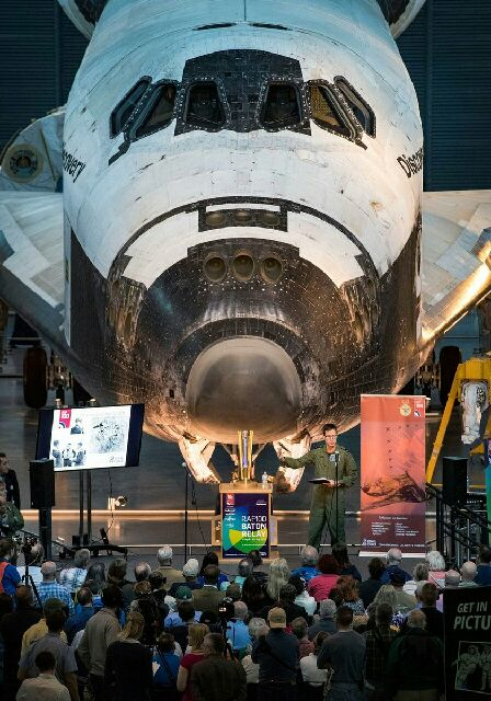 RAF100 Baton and the Space Shuttle Discovery